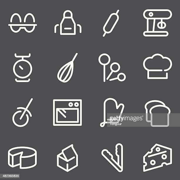baking icons - white series - making a cake stock illustrations, clip art, cartoons, & icons