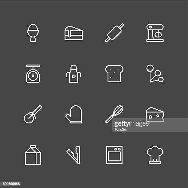 baking icons - white series - kitchen scale stock illustrations, clip art, cartoons, & icons