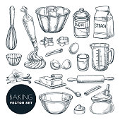 Baking ingredients and kitchen utensil icons. Vector flat cartoon illustration. Cooking and recipe design elements