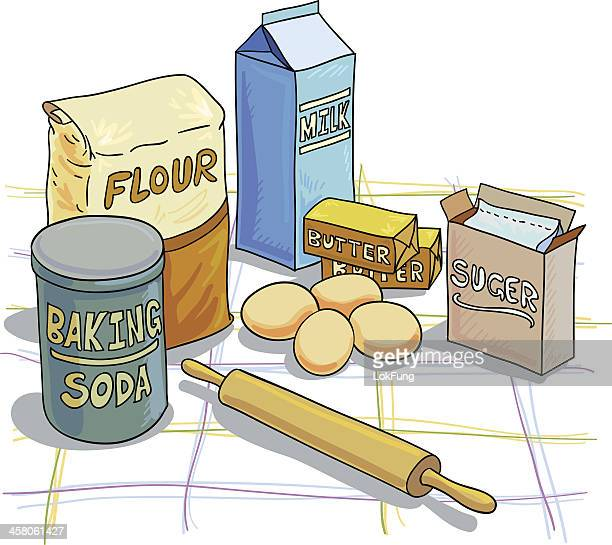 baking ingredients illustration - baked stock illustrations, clip art, cartoons, & icons