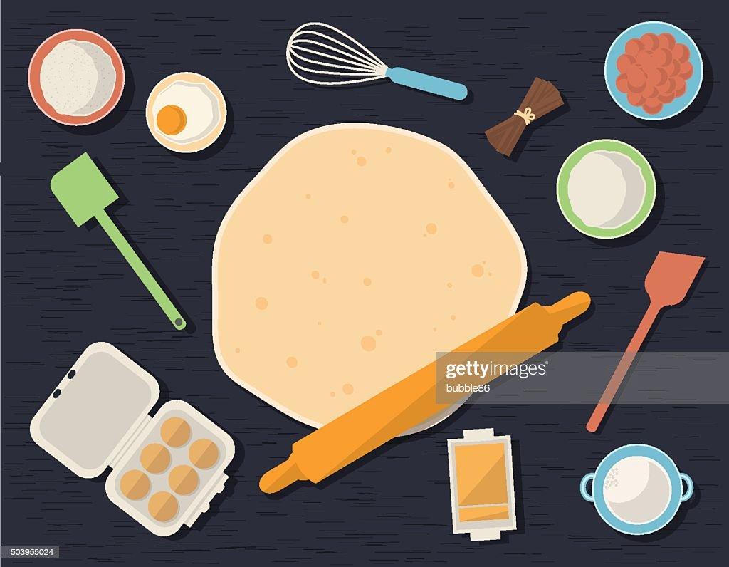 Baking Ingredients on Kitchen Table