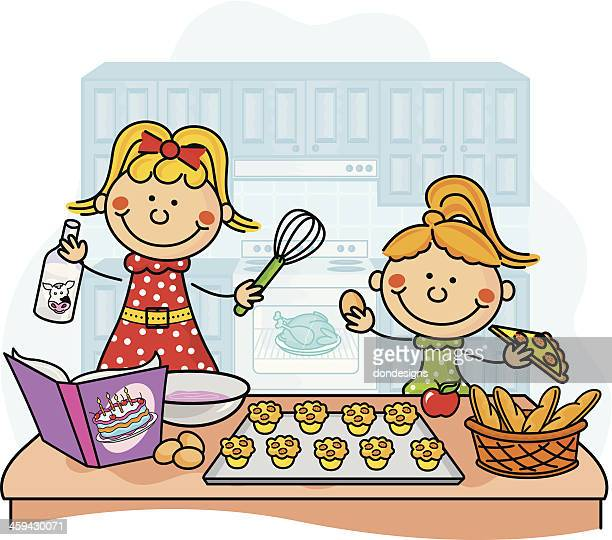 baking kids - collection - chicken pie stock illustrations, clip art, cartoons, & icons