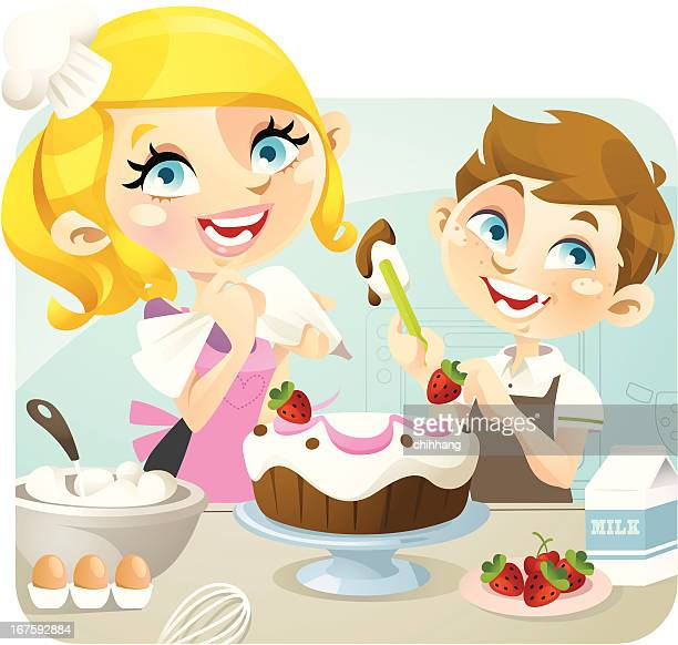 baking mama - making a cake stock illustrations, clip art, cartoons, & icons