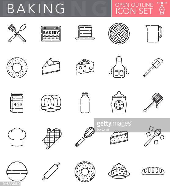 baking open outline icon set - making a cake stock illustrations, clip art, cartoons, & icons