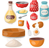 Baking pastry prepare cooking ingredients kitchen utensils homemade food preparation baker vector illustration