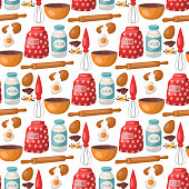 Baking pastry prepare cooking ingredients kitchen utensils homemade food preparation baker seamless pattern background vector illustration