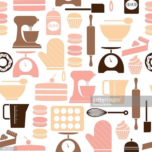 baking repeat pattern - making a cake stock illustrations, clip art, cartoons, & icons