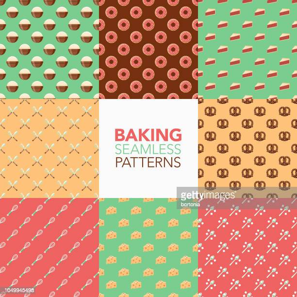 baking seamless pattern set - pastry dough stock illustrations, clip art, cartoons, & icons