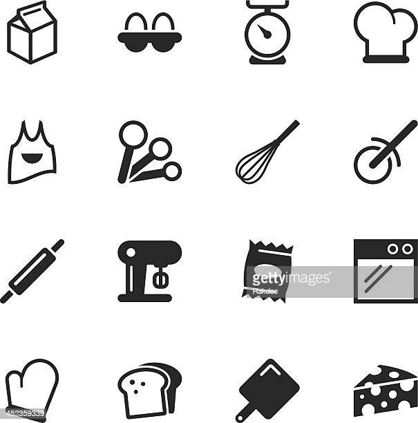 baking silhouette icons - making a cake stock illustrations, clip art, cartoons, & icons