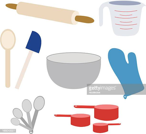 baking supplies - making a cake stock illustrations, clip art, cartoons, & icons