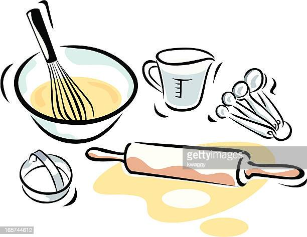 baking supplies - baked stock illustrations, clip art, cartoons, & icons