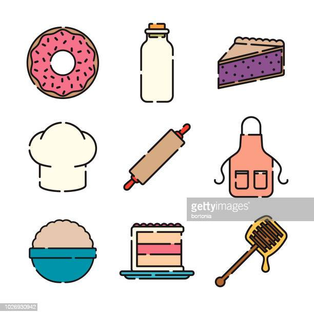 baking thin line icon set - kitchenware department stock illustrations, clip art, cartoons, & icons