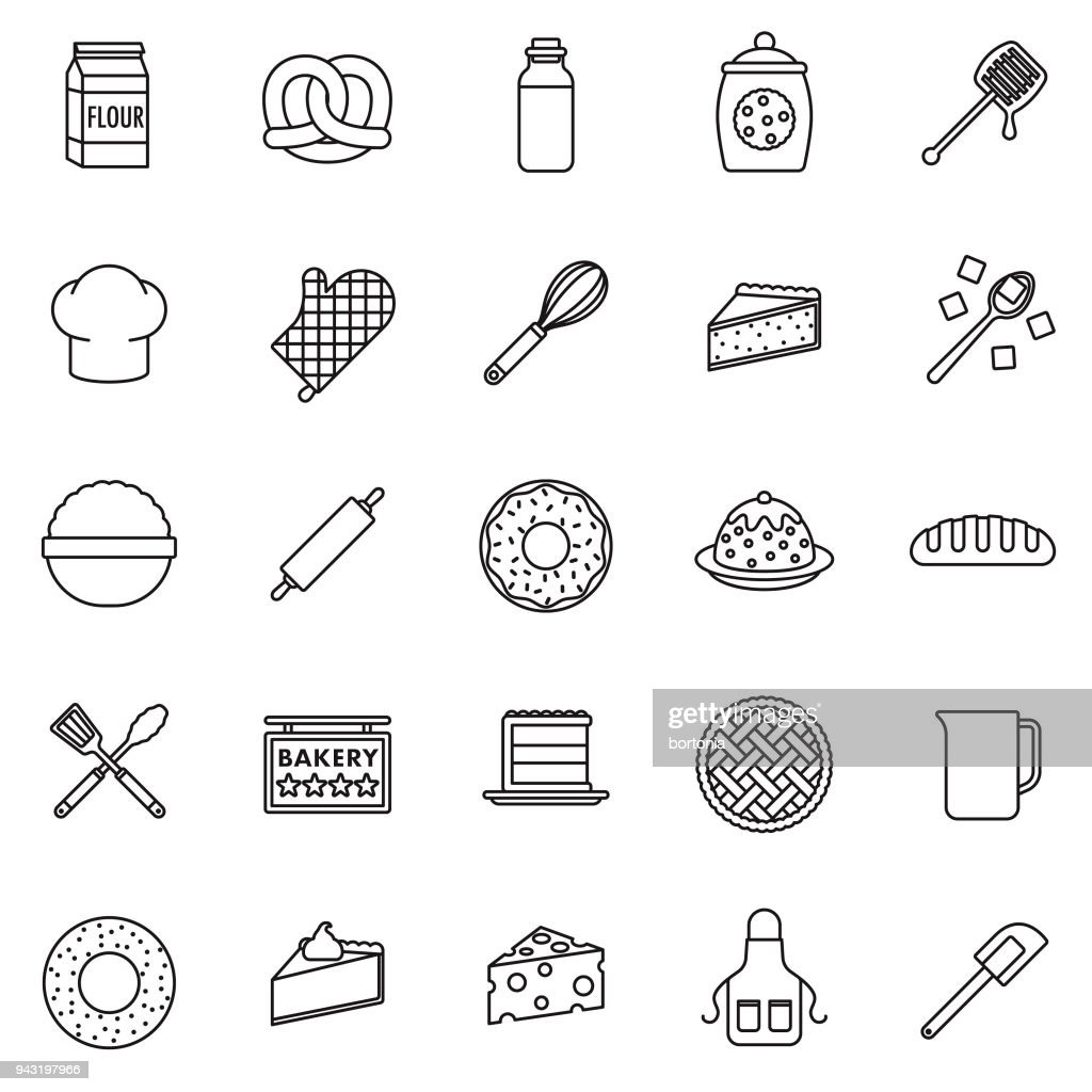 Baking Thin Line Icon Set