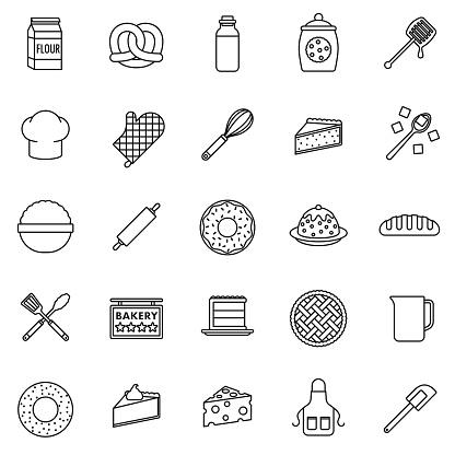 Baking Thin Line Icon Set - gettyimageskorea
