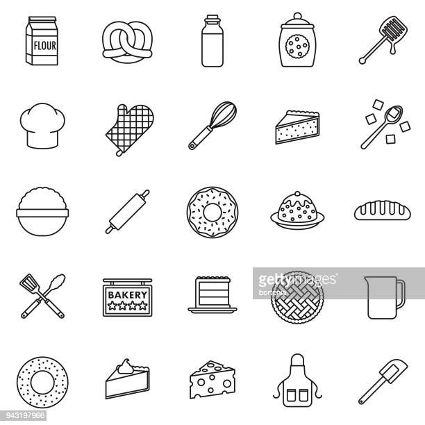 baking thin line icon set - making a cake stock illustrations, clip art, cartoons, & icons