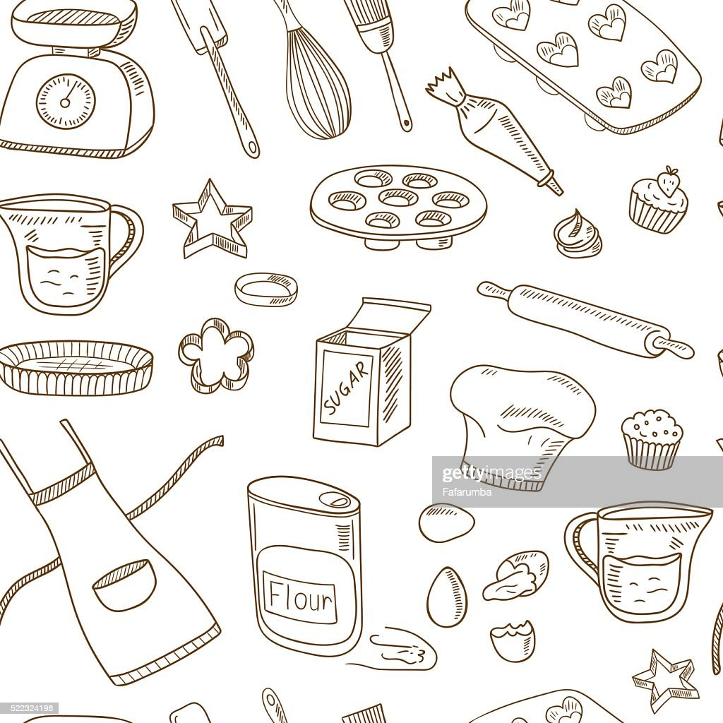 Baking Tools Seamless pattern. Hand drawn