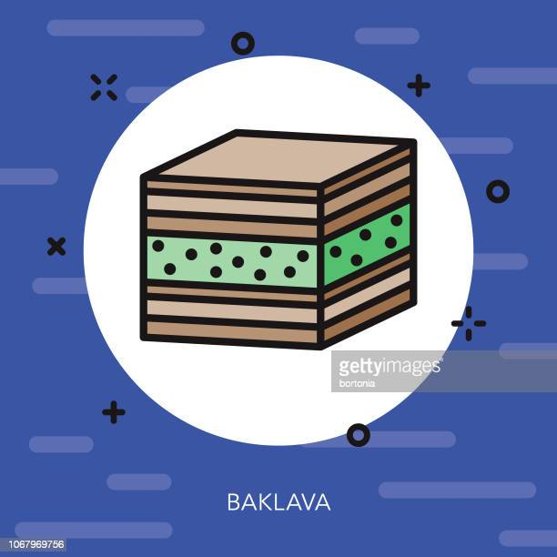baklava thin line ramadan icon - fasting activity stock illustrations, clip art, cartoons, & icons