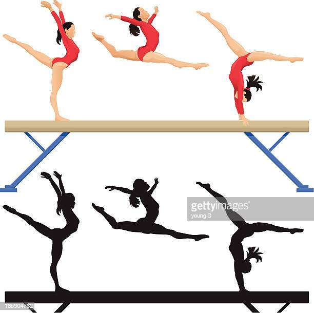 balance beam - gymnastics stock illustrations