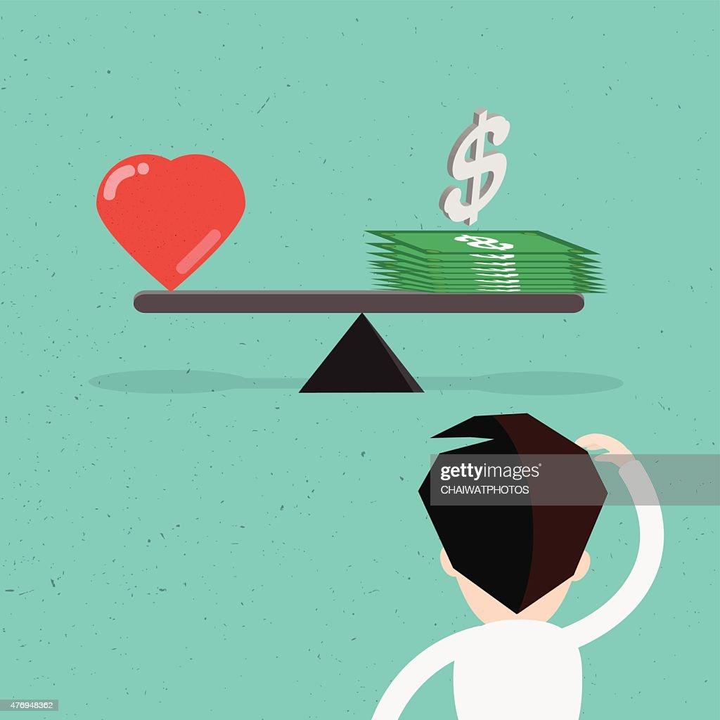 Balance between heart and money vector design.