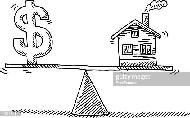 ilustrações, clipart, desenhos animados e ícones de equilíbrio conceito de dinheiro real estate desenho - símbolo do dólar
