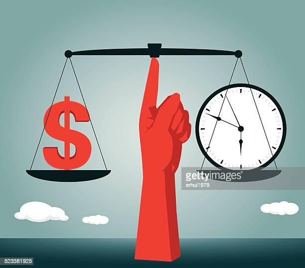 ilustrações, clipart, desenhos animados e ícones de equilíbrio e igualdade entre homens e mulheres, o relógio, comprar, câmbio, dinheiro - tempo é dinheiro