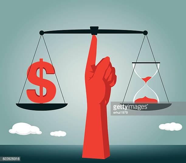 ilustrações, clipart, desenhos animados e ícones de equilíbrio e igualdade, dilema moral, balança da justiça, da justiça - tempo é dinheiro