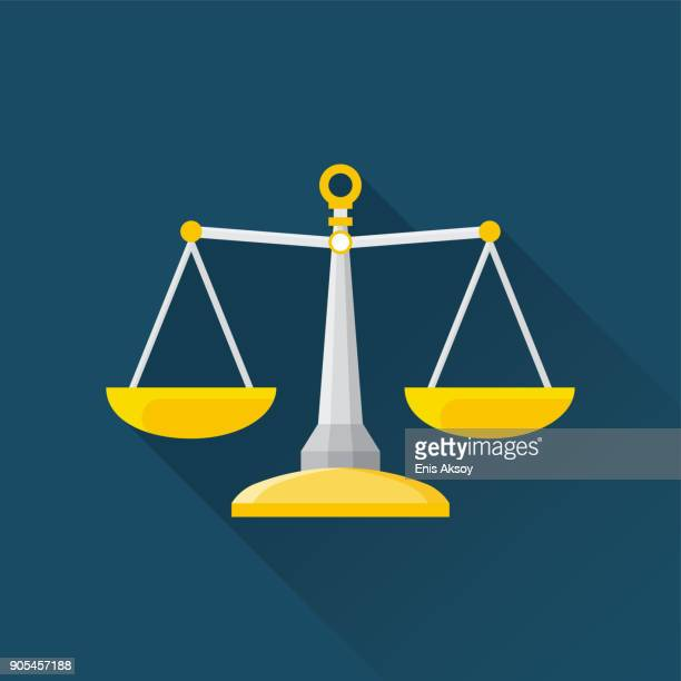 balance flat icon - scales stock illustrations