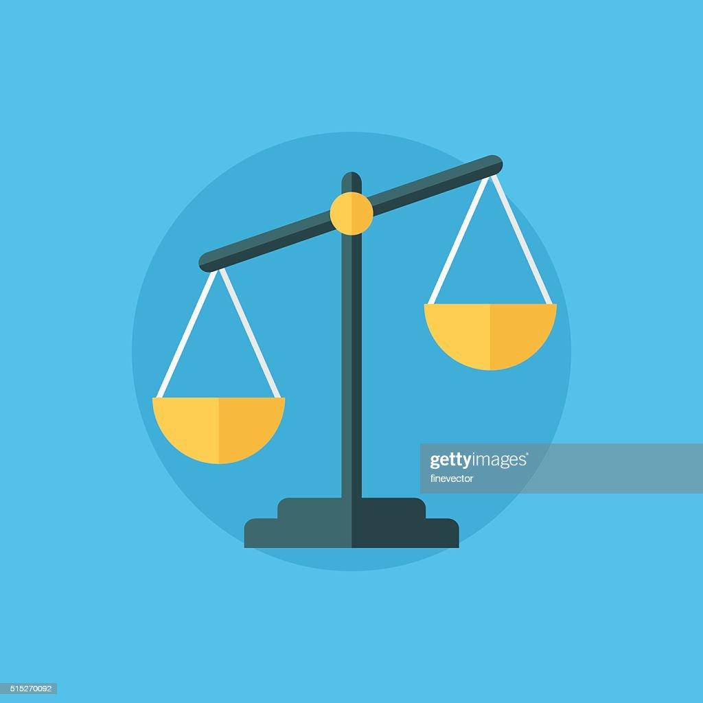 Balance icon. Law balance symbol. Justice scales icon.