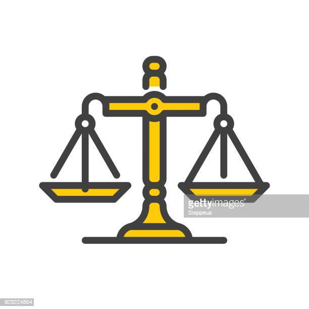 balance line icon - scales stock illustrations