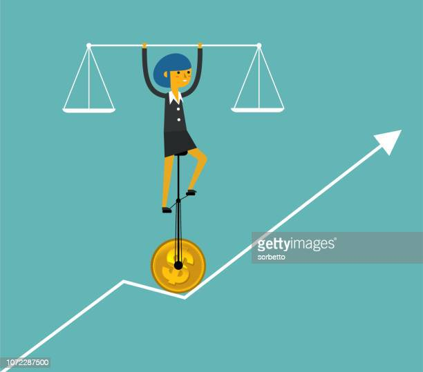 balance of business - businesswoman - animal scale stock illustrations, clip art, cartoons, & icons