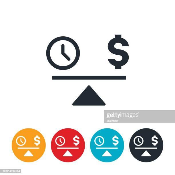 ilustrações, clipart, desenhos animados e ícones de equilíbrio de tempo e dinheiro ícone - tempo é dinheiro
