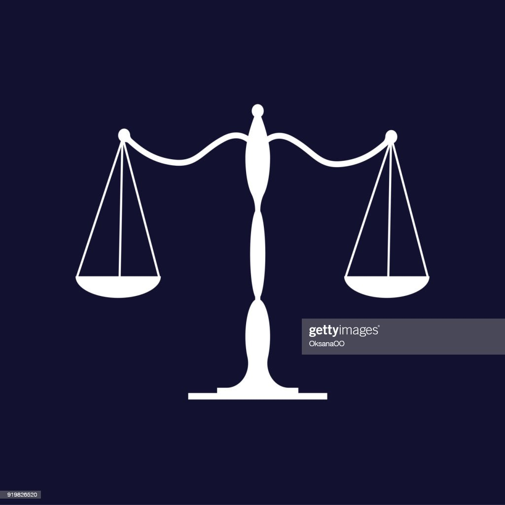 Balance scale icon. Vector icon on dark blue background.
