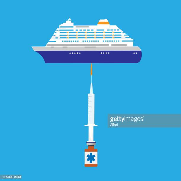 balancing cruise line industry - pathogen transmission stock illustrations