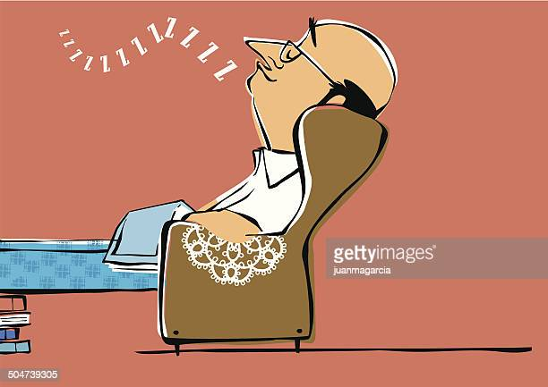 bald bespectacled man falls asleep while reading. - reading england stock illustrations