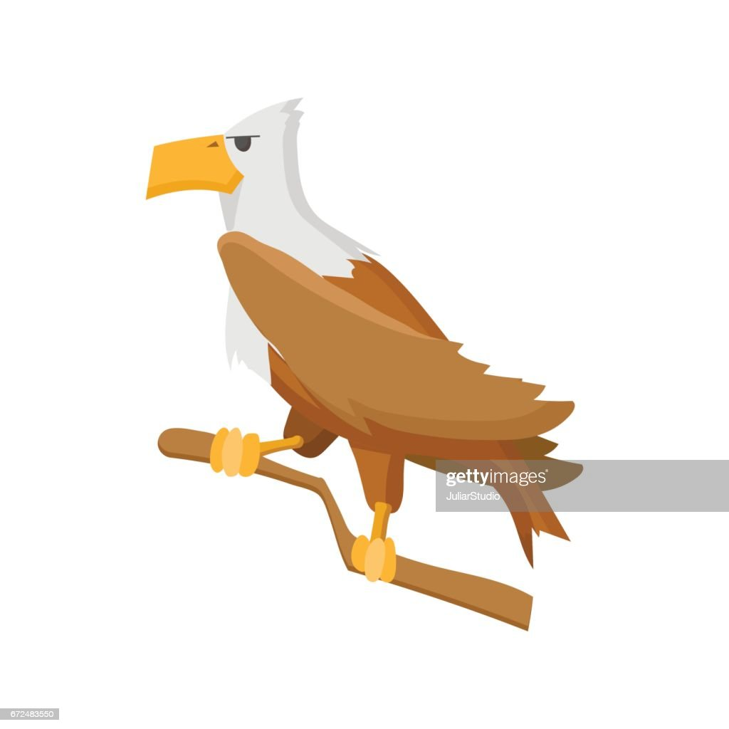 Bald eagle cartoon icon