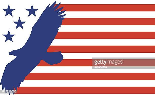 bald eagle flag - bald eagle stock illustrations