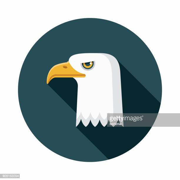 Bald Eagle Flat Design USA Icon with Side Shadow