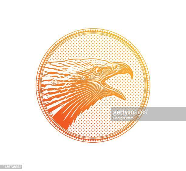 Bald Eagle head in circle frame