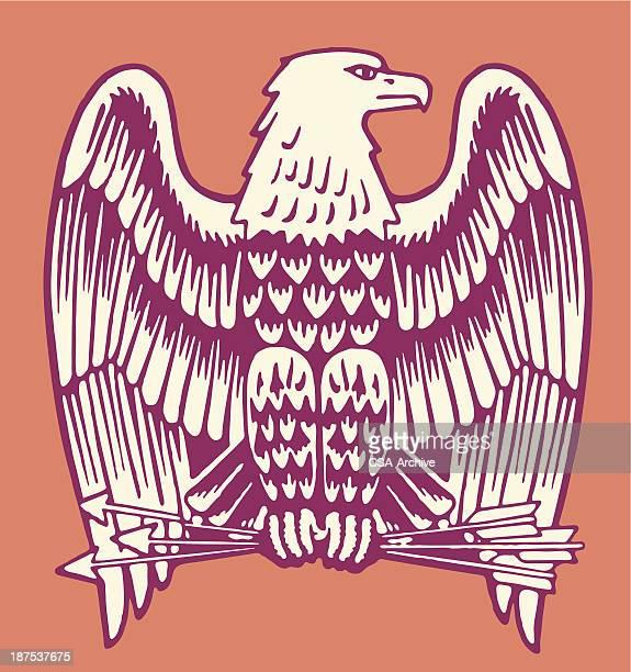 bald eagle holding three arrows - bald eagle stock illustrations
