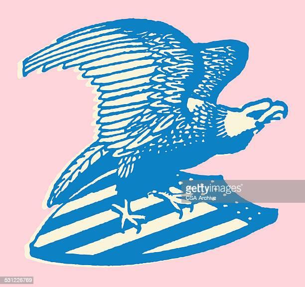 bald eagle on usa shield - eagle stock illustrations