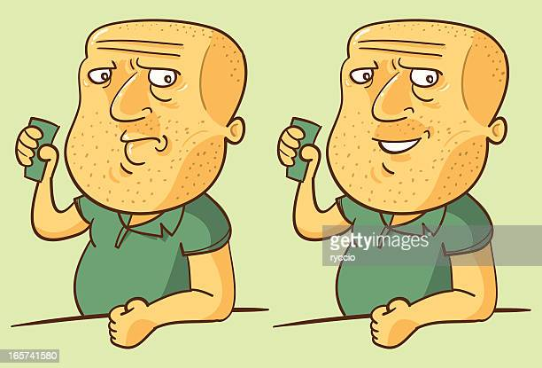 bald man drinking - ugly bald man stock illustrations