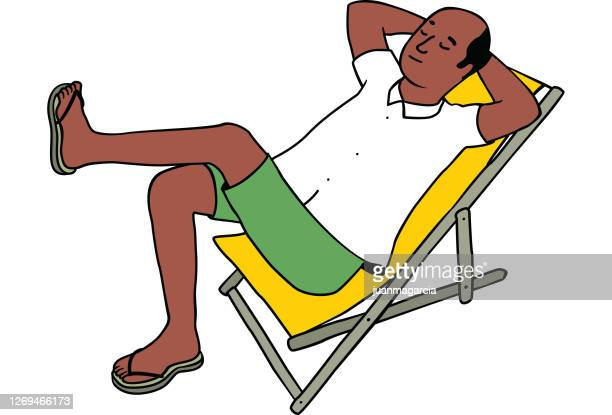 bald man of hindu race resting on a deck chair - early retirement stock illustrations