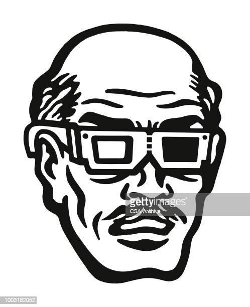 Bald Man Wearing 3D Glasses