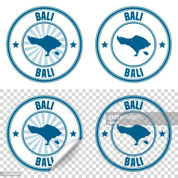 bali - blue sticker and stamp with name and map - bali stock illustrations