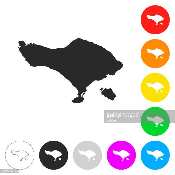 bali map - flat icons on different color buttons - bali stock illustrations