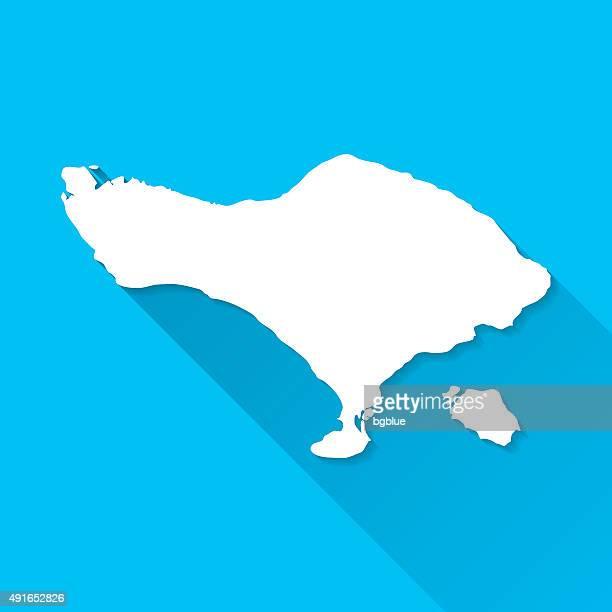 bali map on blue background, long shadow, flat design - bali stock illustrations