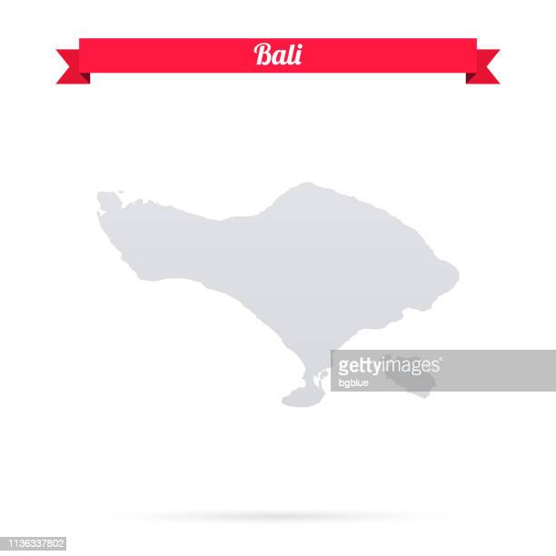 bali map on white background with red banner - bali stock illustrations