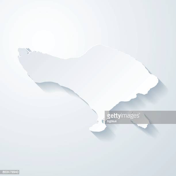 bali map with paper cut effect on blank background - bali stock illustrations