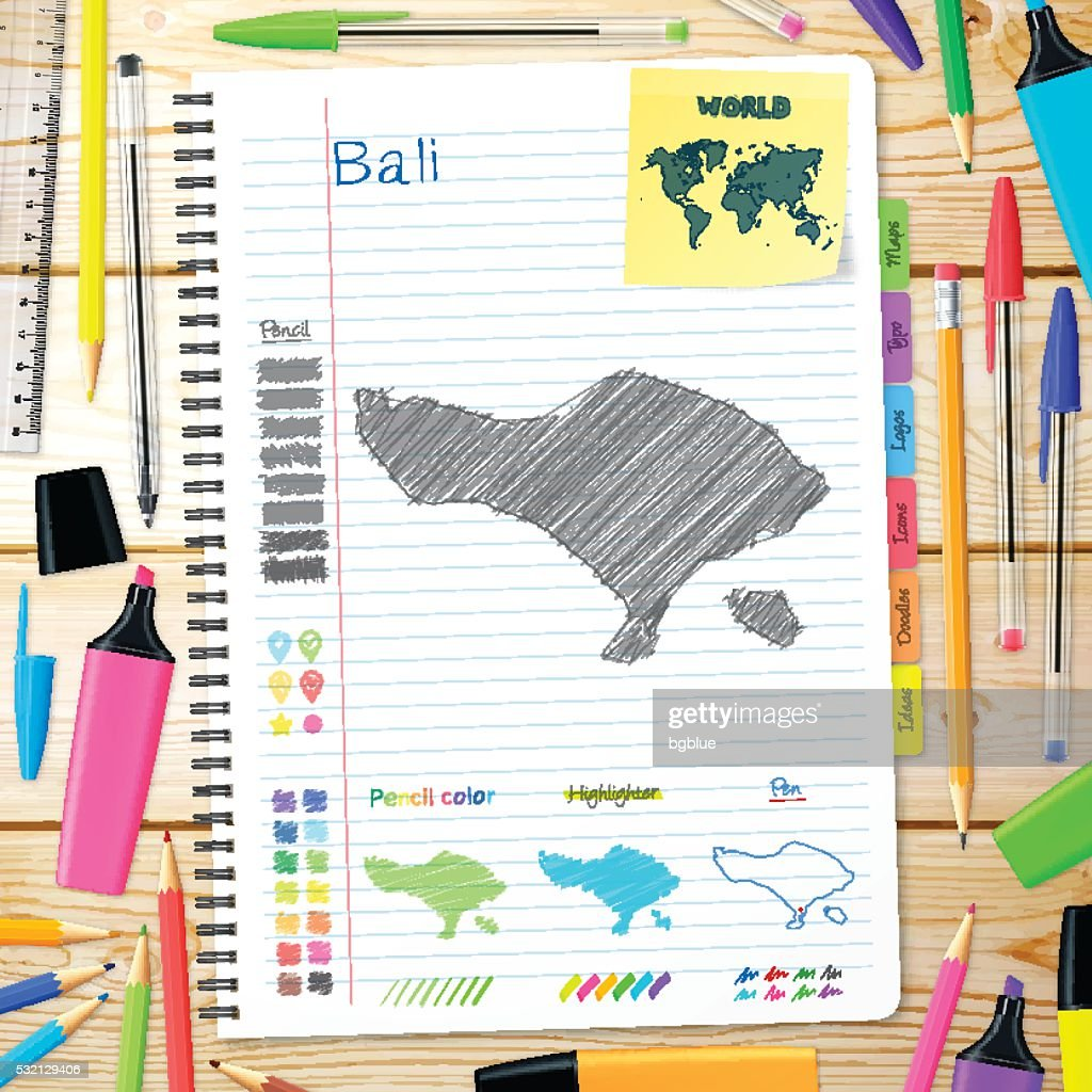 Bali Maps Hand Drawn On Notebook Wooden Background High Res