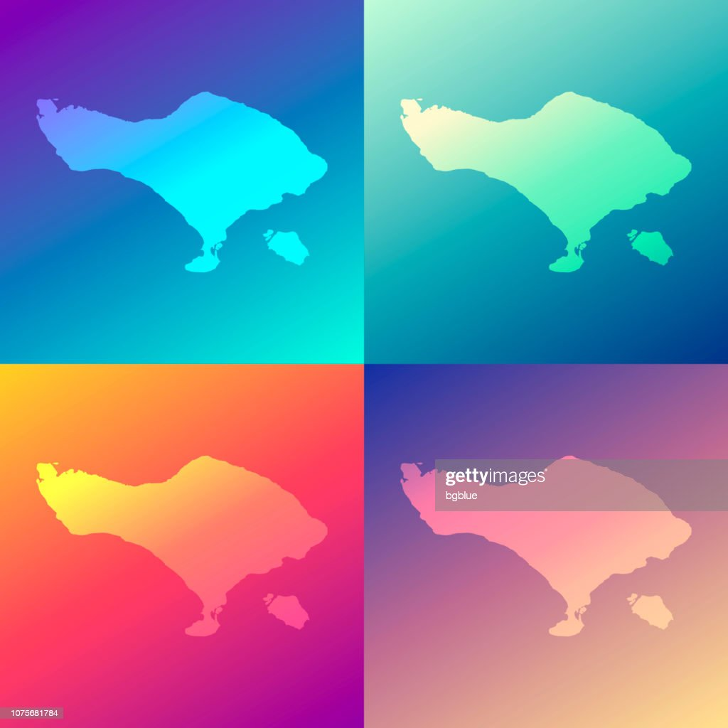 Bali Maps With Colorful Gradients Trendy Background High Res